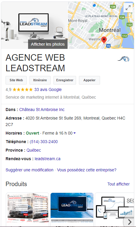Google Mon Entreprise, Agence WEB Leadstream
