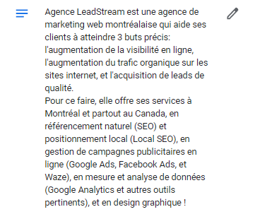 Description Google Mon entreprise de l'agence Leadstream