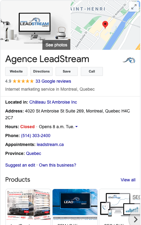 Google My business, Agence Leadstream