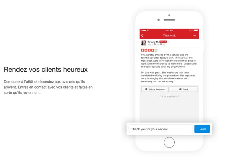 Rendez vos clients heureux, exemple d'avis publié sur Yelp
