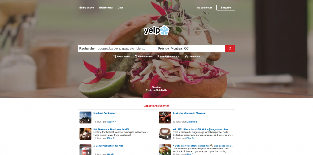 Page d'accueil sur le site Yelp