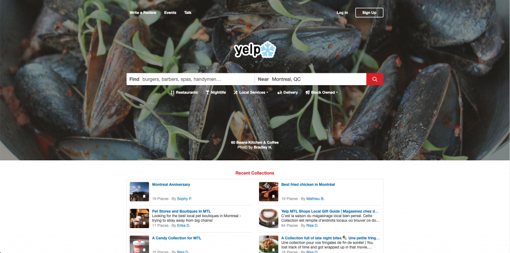 Homepage on the Yelp website