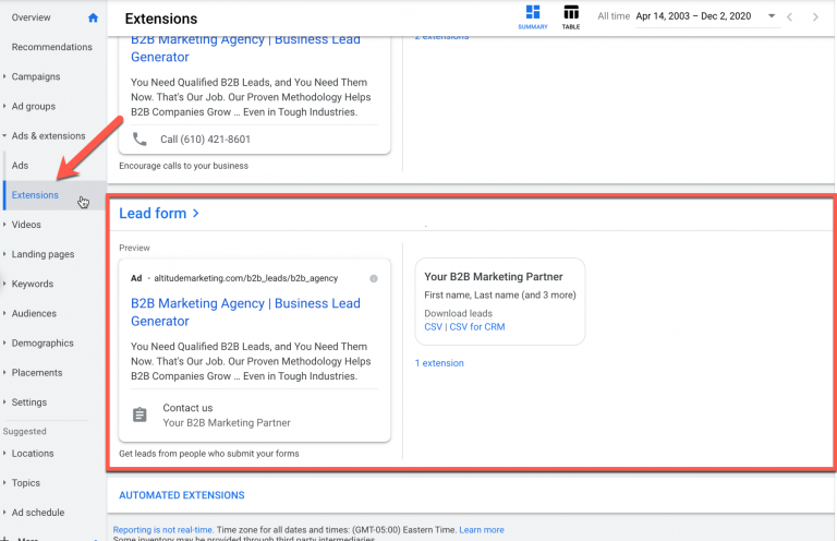 Google Ads New Feature Lead Forms​