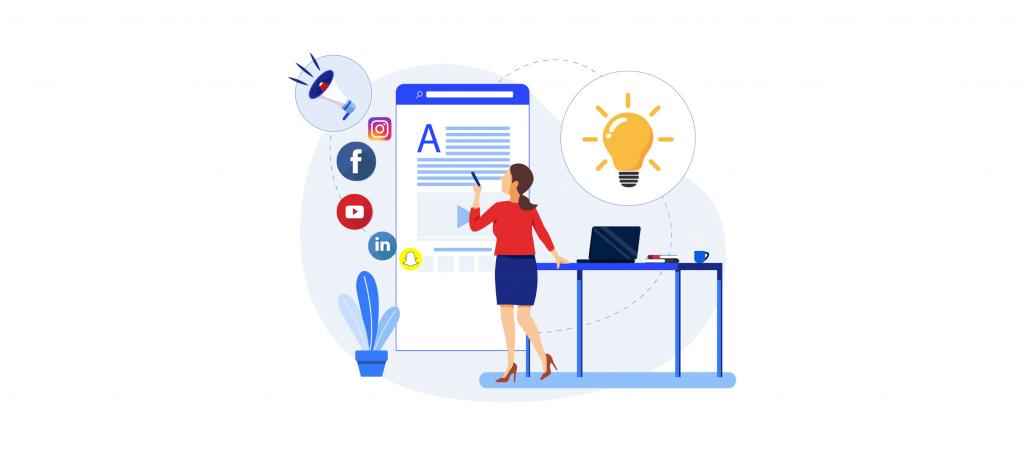 illustration of a woman planning social media strategies
