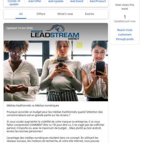 Post Agence Leadstream sur Google Mon Entreprise