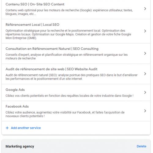 Les champs « Services » et « Produits » dans Google Mon entreprise